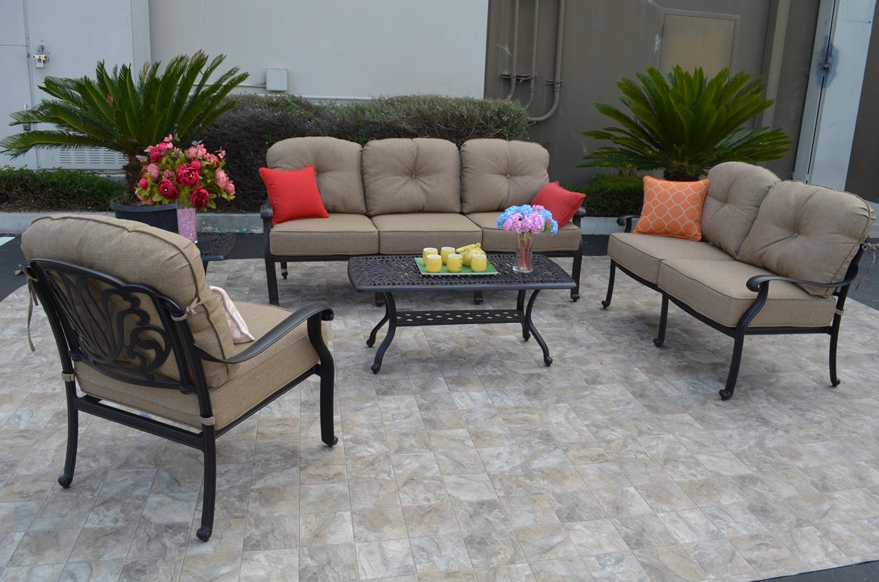 Lovely Elizabeth Deep Seating Set 4pcs With Rectangular Coffee Table