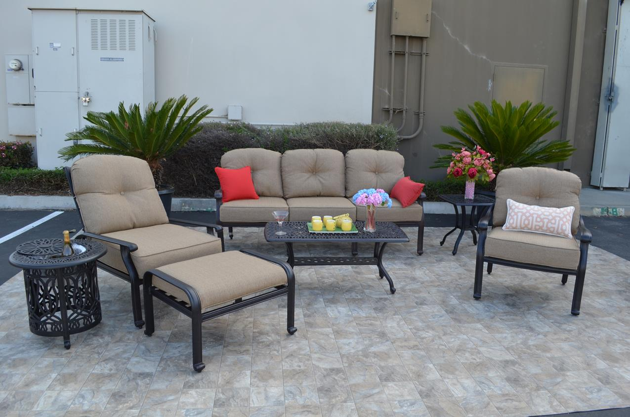 Elizabeth Deep Seating Set 7 Pcs With Ottoman Square End Table Ice Tea
