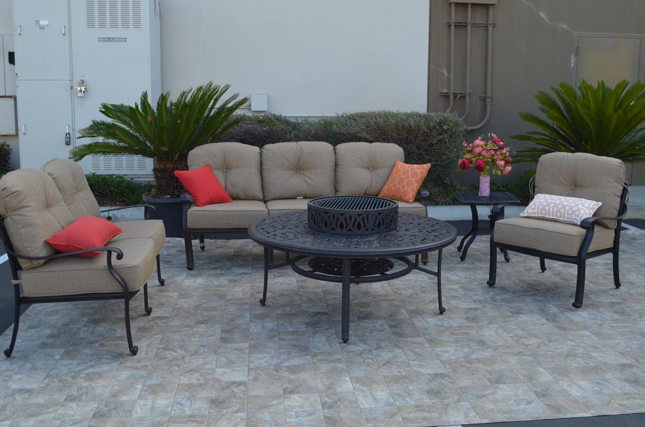 Elezabeth Deep Seating Set 5 Pcs With Bbq Fire Pit Table Square End
