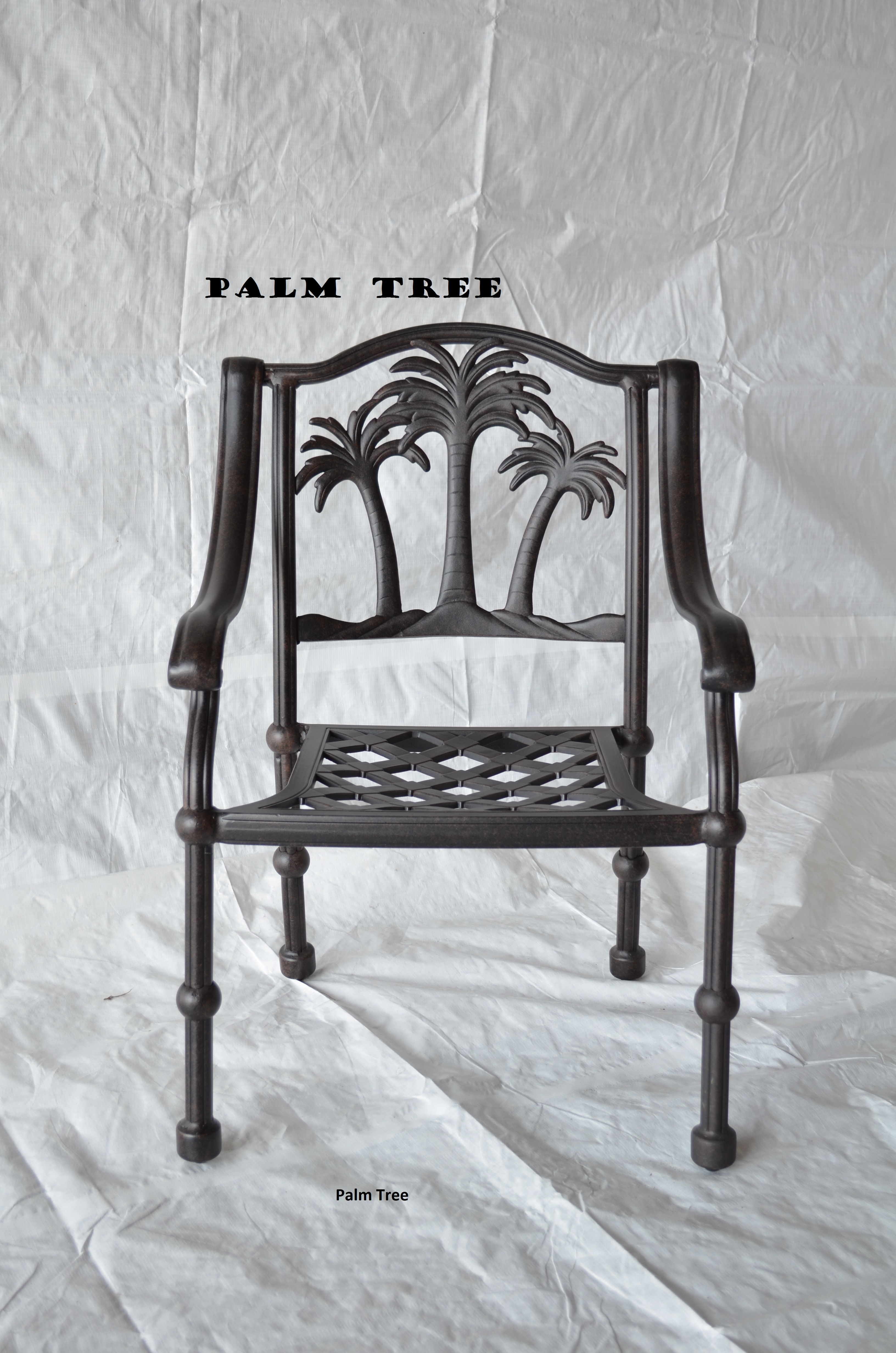 Palm tree Dining Set 2arm chairs 52 Round table with ice bucket