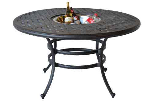 Ld1031ad 52 nassau 52 in round dining table with ice for Dining table weight